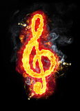 Fire Musical G Clef Royalty Free Stock Photos