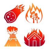 Fire natural disaster colorful vector icons. In red and orange illustration Stock Photos