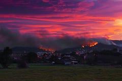 Fire near houses in Berango and Sopelana Stock Photos