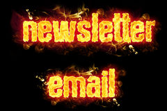 Fire Text Newsletter Email. Fire newsletter email text badges with burning flames Royalty Free Stock Photography