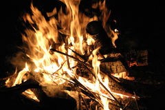 Fire at night. The very close-up Stock Images