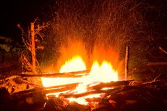 Fire at the night Stock Photography