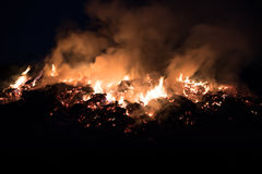 Fire at night, flames, smoke Stock Photo