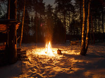 Fire in the night. In the snow Royalty Free Stock Photo