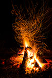 Fire in the night. Fire with sparks in countryside Royalty Free Stock Photo