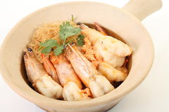Fire noodles with prawn Stock Photos