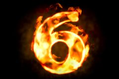 Free Fire Number 6 Of Burning Flame Light, 3D Stock Images - 101126294