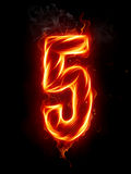 Fire number. A series of fiery letters and numbers Stock Images