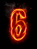 Fire number. A series of fiery letters and numbers Stock Image