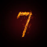 Fire number. On dark background Royalty Free Stock Photos