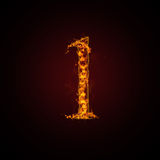 Fire number. On dark background Royalty Free Stock Image