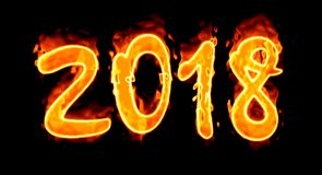 2018 Fire Number On Black Background/. Happy New Year 2018 with flaming fire burn and the black background isolated Stock Images