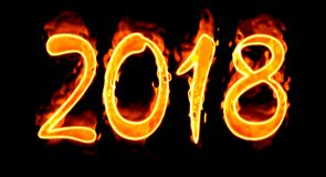 2018 Fire Number On Black. Happy New Year 2018 with flaming fire burn and the black background isolated Stock Photography