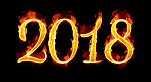 Fire Number On Black 2018/. Happy New Year 2018 with flaming fire burn and the black background isolated Royalty Free Stock Images