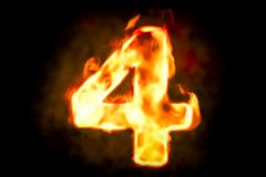 Fire number 4 of burning flame light, 3D. Rendering Royalty Free Stock Photos