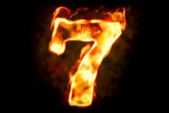 Fire number 7 of burning flame light, 3D Stock Photos