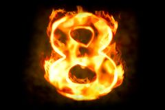 Fire number 8 of burning flame light, 3D. Rendering Royalty Free Stock Images