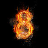 Fire number 8 eight of burning flame. Flaming burn font or bonfire alphabet text with sizzling smoke and fiery or blazing shining heat effect. Incandescent hot Royalty Free Stock Images