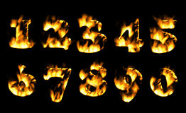 Fire number, figures in flame. Part 6. Fire number, Fire text collection. Alphabet of flame, Fire text collection. Alphabet of flame Stock Images