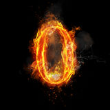 Fire number 0 zero of burning flame. Flaming burn font or bonfire alphabet text with sizzling smoke and fiery or blazing shining heat effect. Incandescent hot Stock Images