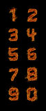 Fire Numbers 0-9 Stock Photos