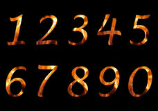 Fire numbers. Numbers set with fire effect Stock Images