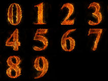 Fire numbers. Are  on black background Stock Image