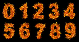 Fire numbers set Stock Photos