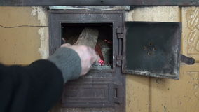 Fire in old  furnace fireplace stock video