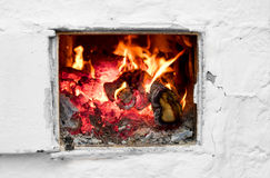 Fire in old stove Royalty Free Stock Photography