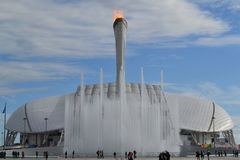 Fire. Olympic fire and stadium fisht Royalty Free Stock Photography