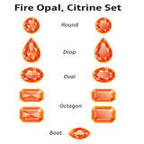 Fire Opal, Citrine Set With Text. Fire opals, citrines set different cut - round, drop, oval, boat and octagon. Brilliant three-dimensional jewelry on a white Royalty Free Stock Image