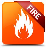 Fire orange square button red ribbon in corner Royalty Free Stock Photo