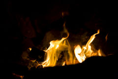 Fire in outdoors fire pit - Camp fire Royalty Free Stock Photography