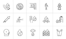 Fire hand drawn sketch icon set. Fire outline doodle icon set for print, web, mobile and infographics. Hand drawn fire vector sketch illustration set isolated Stock Photography