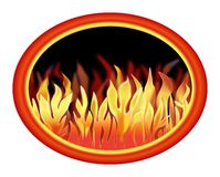 Fire in An Oval. Illustration of a fiery blaze of flames in a bold colored oval frame Royalty Free Stock Image