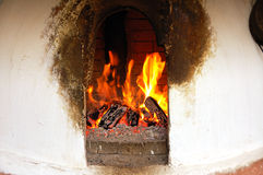 Fire in oven Stock Photo