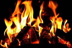 Fire in the oven Royalty Free Stock Image