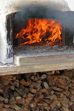 Fire in oven Royalty Free Stock Photography