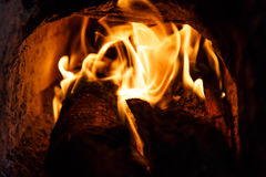 Fire of an oven of wood Stock Photo