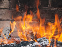Fire over coals Stock Photography