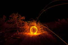 Fire painting, light painting with sparks Royalty Free Stock Image