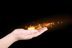 Fire on a palm Stock Image