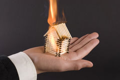 Fire on the palm Stock Image