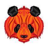 Fire panda, picture of fire bear. Panda head illustration drawn by set of brush strokes in fire style Royalty Free Stock Photos