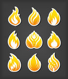Fire paper cut icons. And emblems set Stock Image