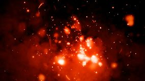 Fire particles isolated on background . Smoke fog mist texture overlays. Fire articles embers isolated on smoke black background royalty free stock images