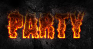 Fire party. Word party with fire effect Stock Photos