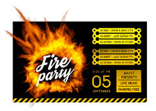 Fire party poster template. Royalty Free Stock Image