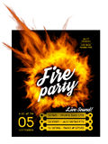 Fire party poster template. Vector illustration with a circle of fire Stock Photo